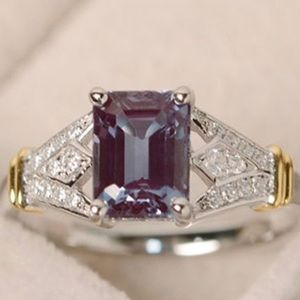 Jewelry - Clear Purple Alexandrite Sterling Silver size 10